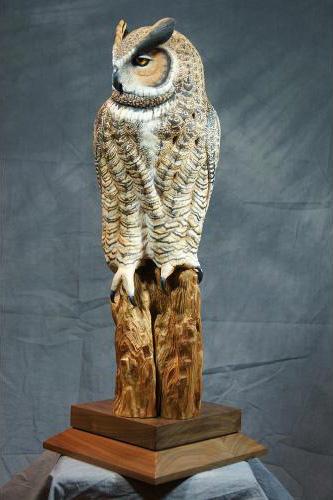 Yvan Dufour Sculpteur faune ailée sculpture sur bois sculpture oiseau # Sculpture En Bois A Vendre